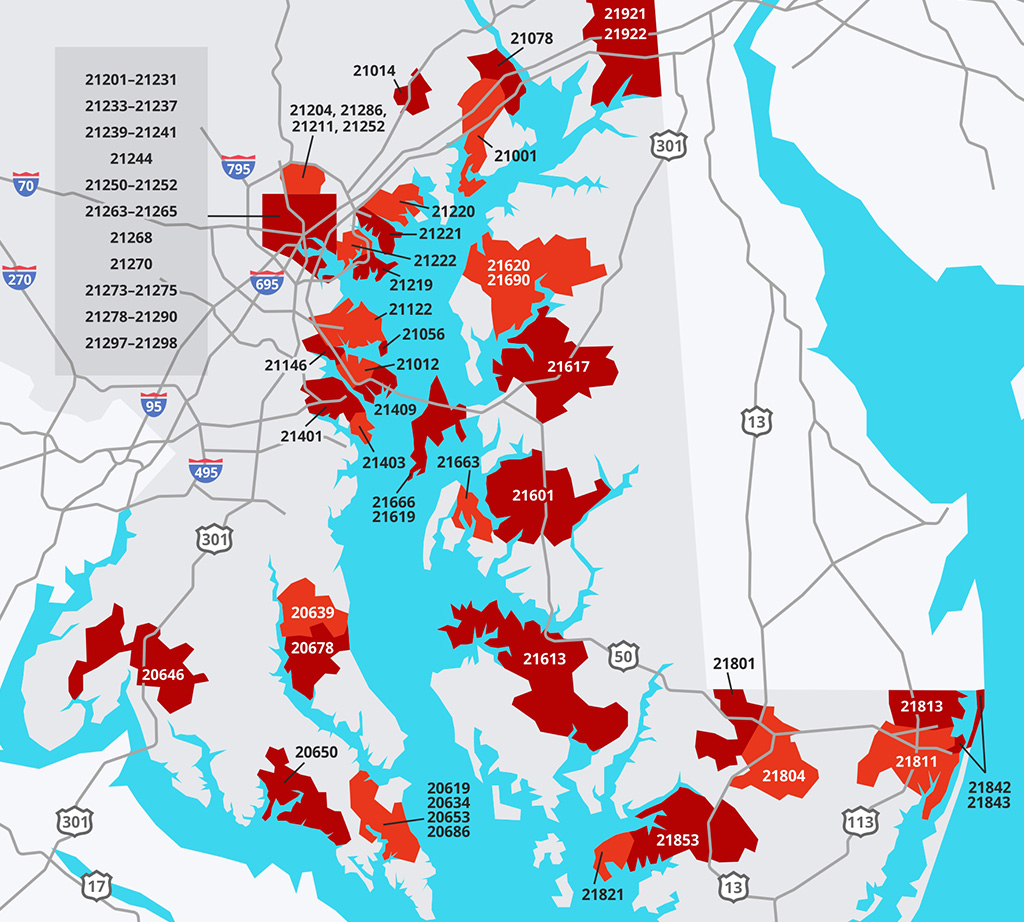 Maryland Waterfront Zip Code Map Rosati Realty
